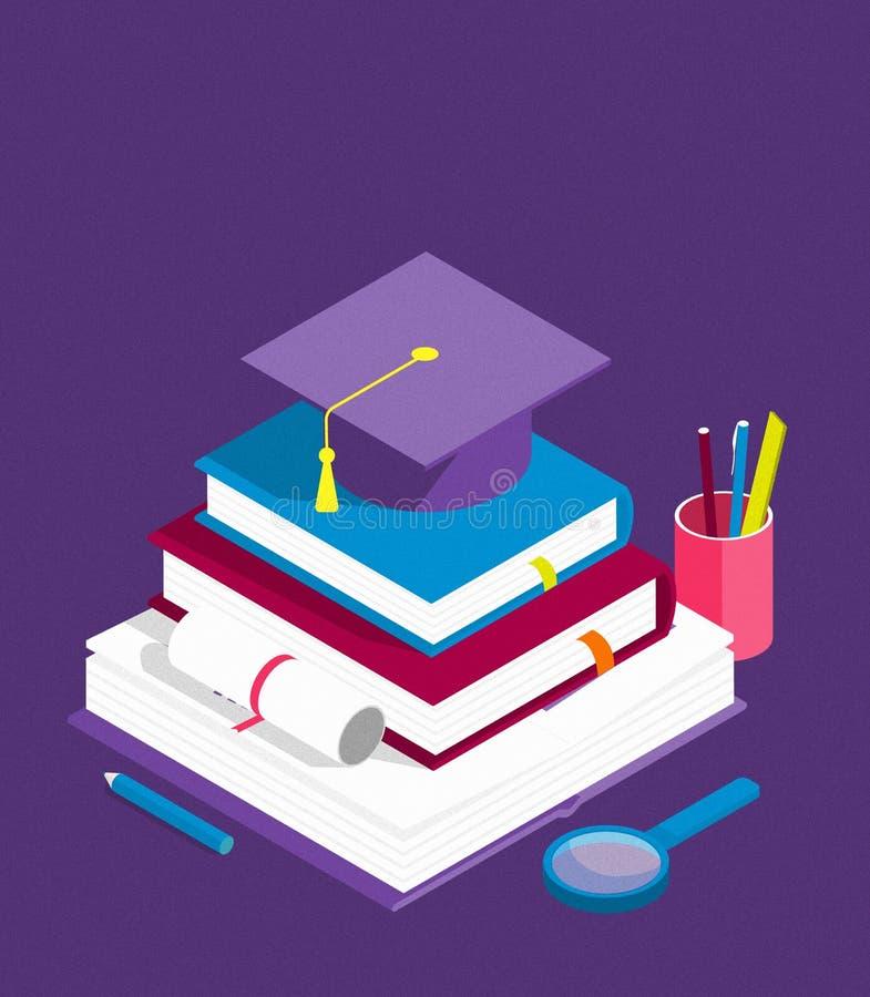 Sucesso da educação, nível da educação e pessoal e conceito isométricos criativos do desenvolvimento da habilidade ilustração stock