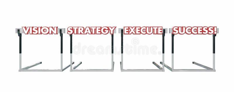 Sucesso da execução da estratégia da visão que salta sobre palavras dos obstáculos ilustração royalty free