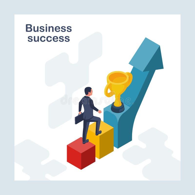 Sucesso de negócio O homem de negócios vai à vitória ilustração stock