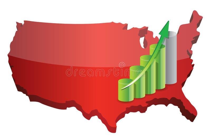 Sucesso do gráfico de negócio dos E.U. ilustração stock
