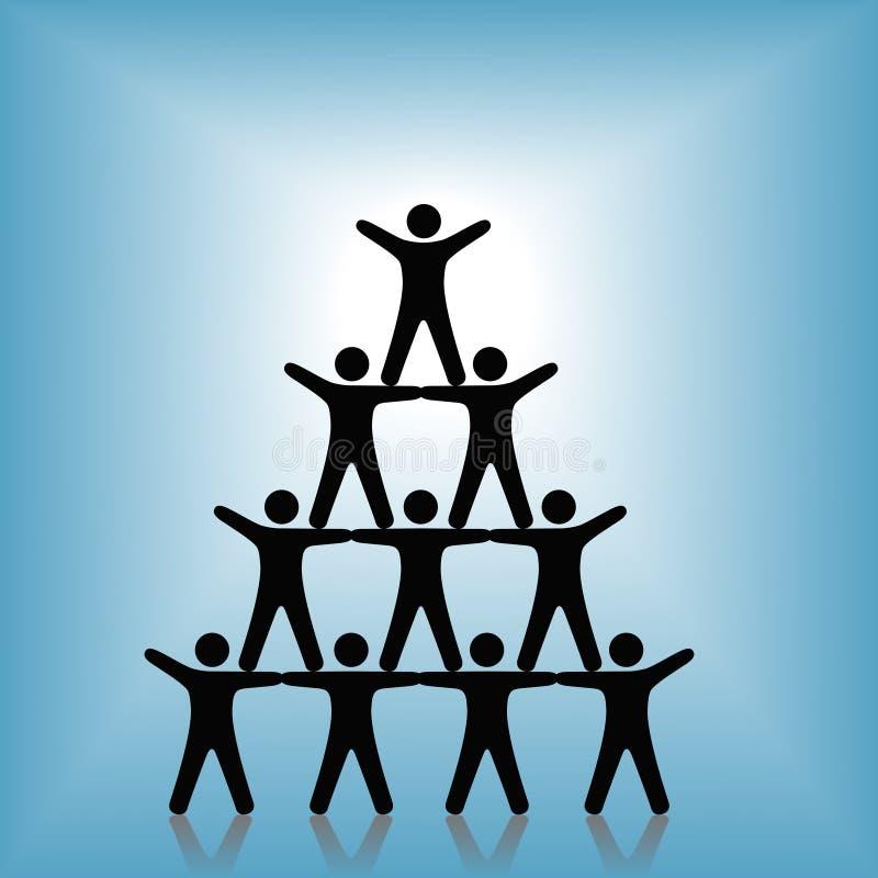 Sucesso dos trabalhos de equipa do grupo da pirâmide dos povos no azul ilustração royalty free