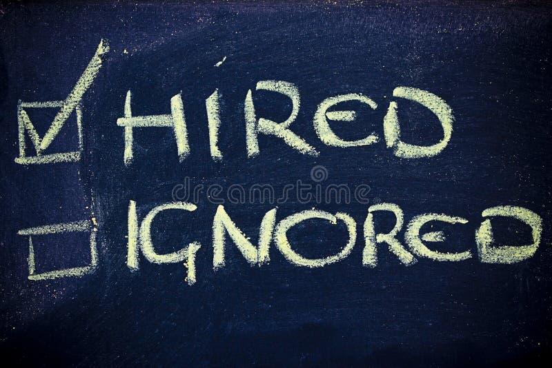 Sucesso em procurar um trabalho: contratado, não ignorado foto de stock