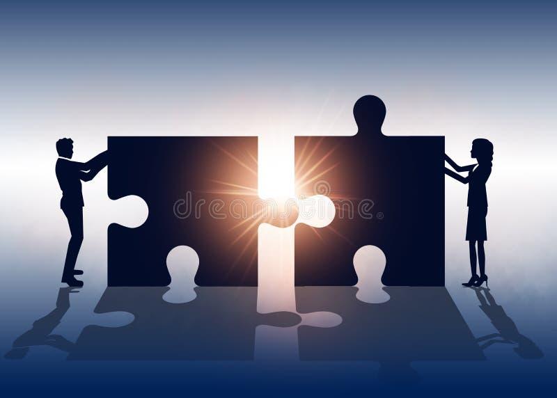 Sucesso Equipe e solução do negócio Illustratio do negócio do vetor ilustração do vetor