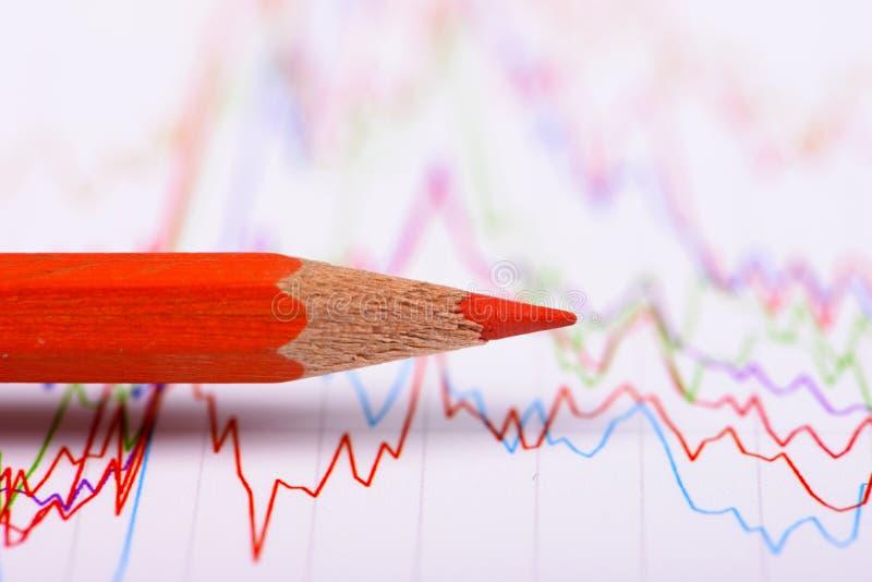Sucesso financeiro das mostras da carta e do lápis no mercado de valores de ação fotos de stock royalty free