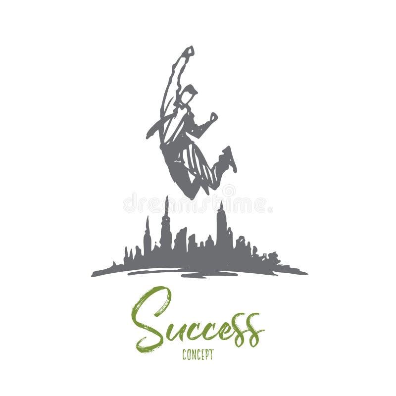 Sucesso, liderança, homem de negócios, objetivo, conceito do desafio Vetor isolado tirado mão ilustração stock