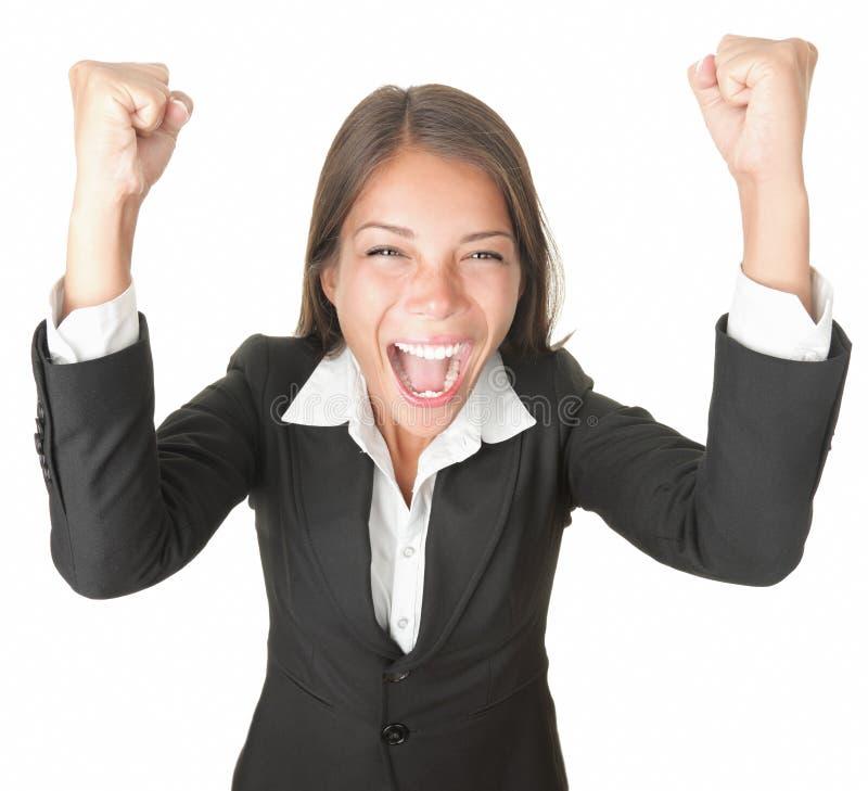 Sucesso/mulher negócio do vencedor isolada foto de stock royalty free