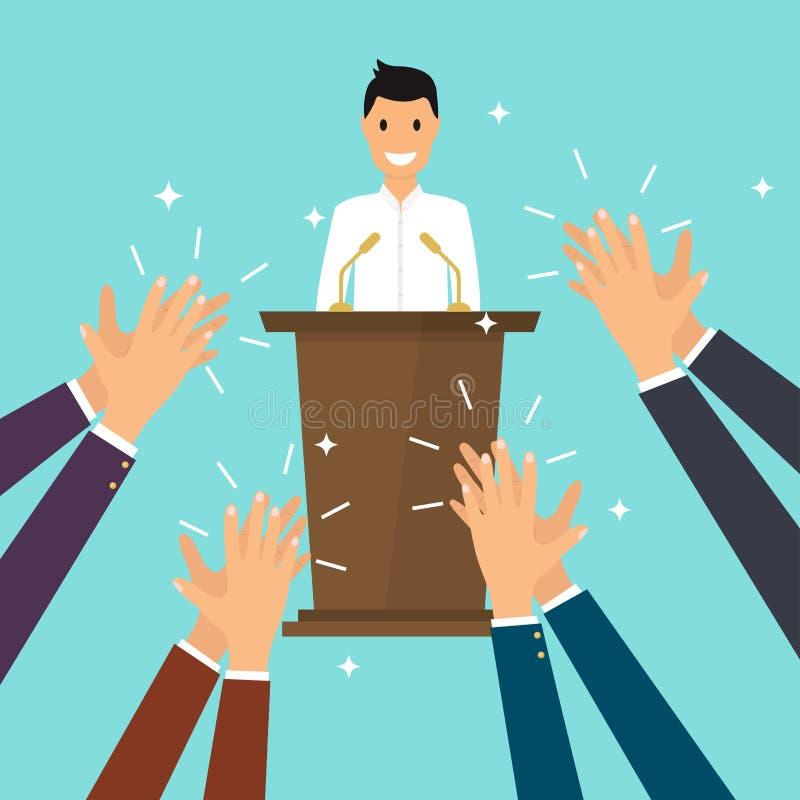 Sucesso no negócio Homem que dá um discurso na fase O ser humano entrega c ilustração do vetor