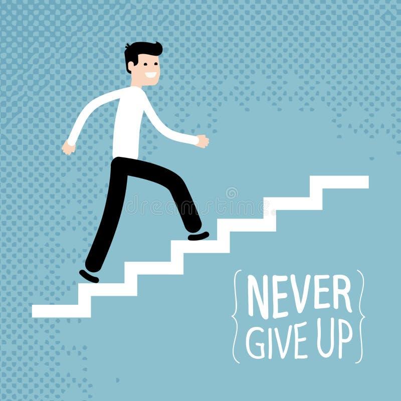 Sucesso no negócio O homem de negócios escala acima escadas Ilustração do vetor ilustração do vetor