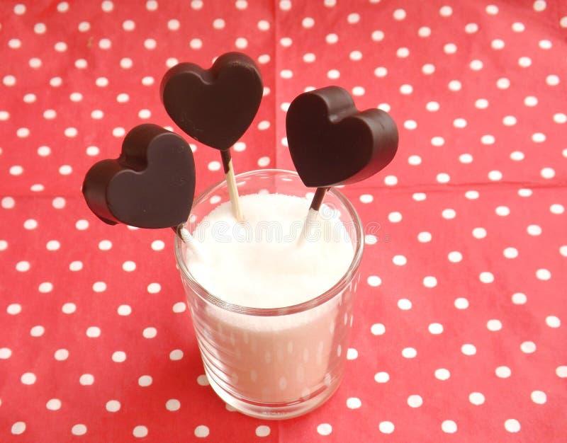 sucettes faites de chocolat image libre de droits