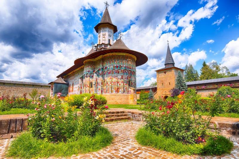 Sucevita修道院罗马尼亚正统修道院精采夏天场面  库存照片