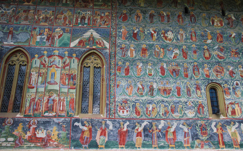 Sucevita Monastery Painting Detail. Outside view of one of the mural paintings at the SuceviÈ›a Monastery, an Eastern Orthodox convent situated in the stock photography