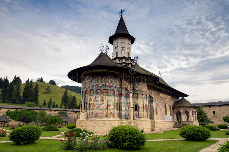 Sucevita orthodox painted monastery, Bucovina. Listed in UNESCO`s list of World Heritage sites royalty free stock photo