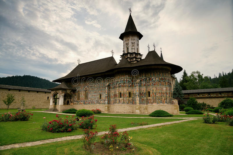 Sucevita orthodox painted monastery, Bucovina. Listed in UNESCO`s list of World Heritage sites stock photos