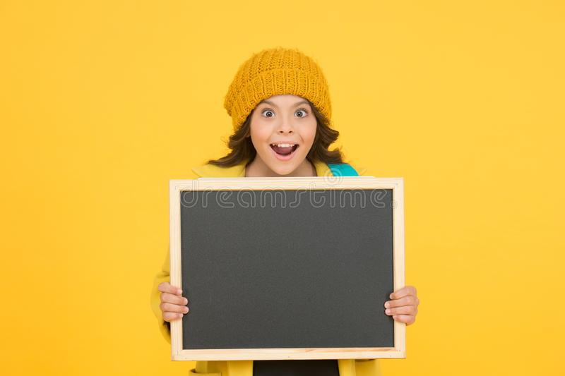 Such a great opportunity. School announcement concept. Changes in school life. School schedule information. Modern. Schoolgirl with chalkboard. School girl cute royalty free stock image
