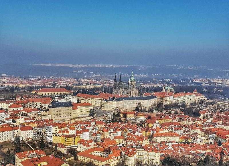 Prague from above, Buildings, Houses, Castle, Old City, History royalty free stock photo