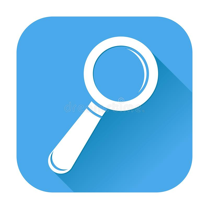 Such- oder Entdeckungsikone Weißes Schattenbild auf blauem quadratischem Hintergrund lizenzfreie abbildung