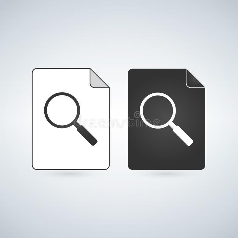 Suchbelegdatei-Vektorikone mit Lupe Flaches Zeichen für bewegliches Konzept und Webdesign Einfache feste Ikone des Papiers Doc. vektor abbildung