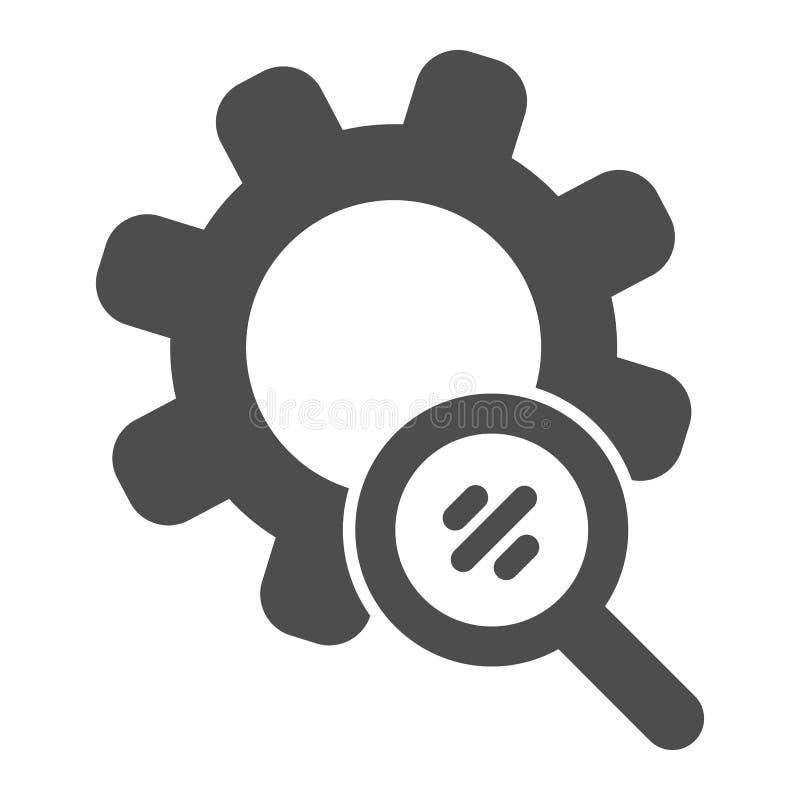 Suche übersetzt feste Ikone Vergrößerungsglas und Entwicklungsvektorillustration lokalisiert auf Weiß Einstellungen Glyph-Artentw stock abbildung