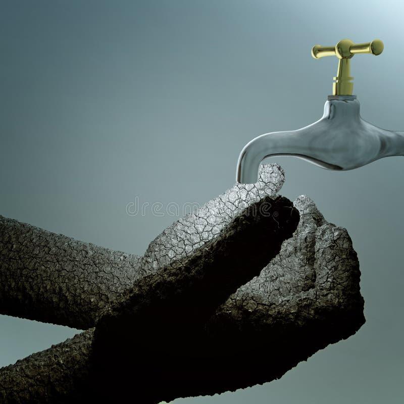 Suche łupanie ręki pod faucet ilustracji