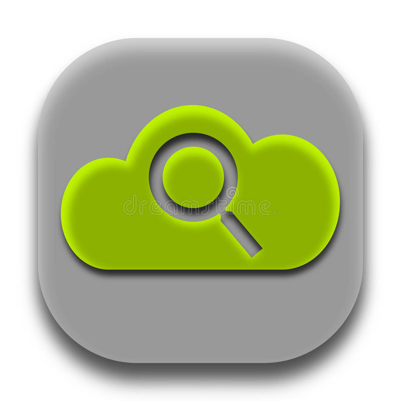 Suche-Coud APP-Ikone Logo Concept lizenzfreie stockbilder