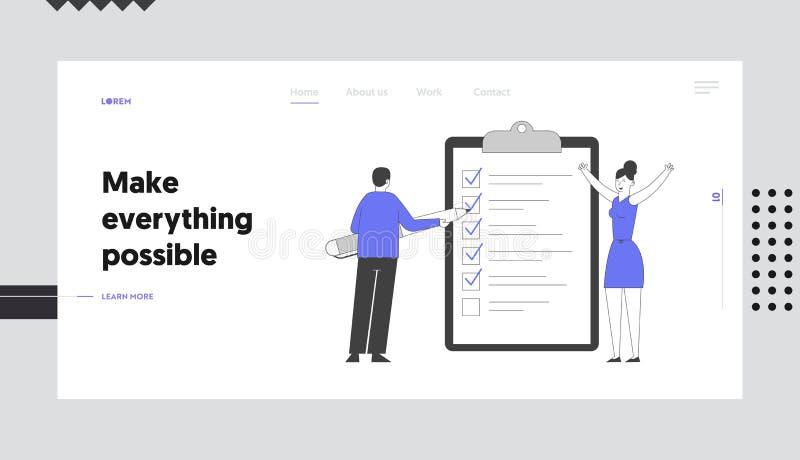 Suche nach einer Lösung und Prüfung der neuen Website-Landing-Page für Ideen Geschäftsmann setzt Markierungen in die Checkboxen-C stock abbildung