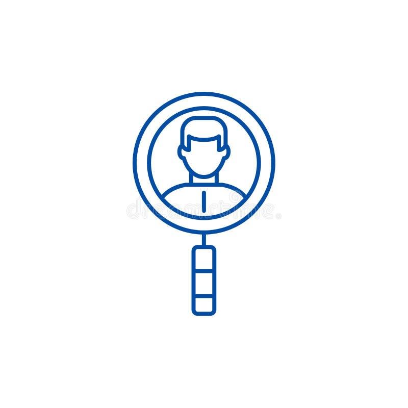 Suche nach Kollegen zeichnen Ikonenkonzept Suche nach flachem Vektorsymbol der Kollegen, Zeichen, Entwurfsillustration lizenzfreie abbildung