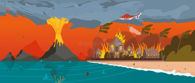 suchego klimatu katastrofa naturalny Thailand anak erupci Indonesia krakatau wulkan Wioska kurort royalty ilustracja