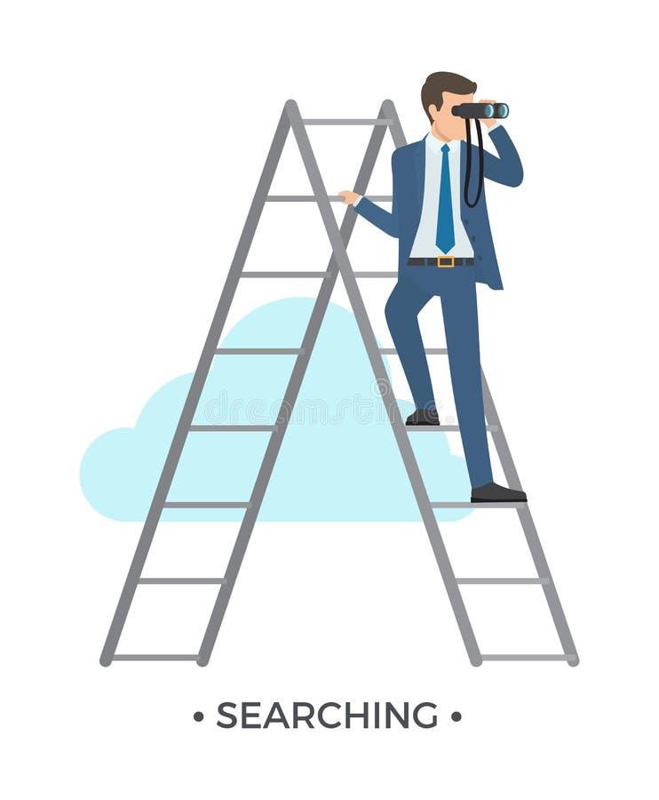 Suchen der Mann-und Leiter-Vektor-Illustration lizenzfreie abbildung