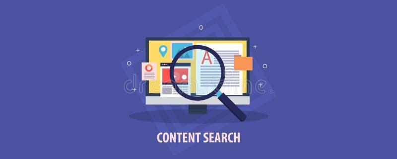 Suchen des digitalen Inhalts auf einem Computer, zufriedene Optimierung, Suchmarketing für Video, Bild, Daten, Informationskonzep stock abbildung
