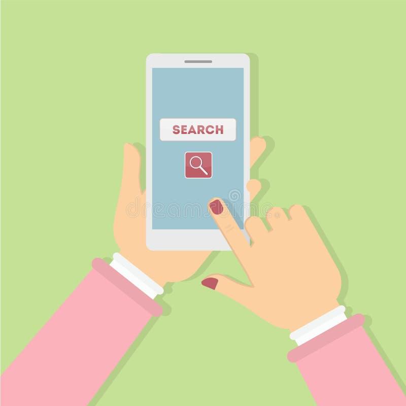 Suchen des Konzeptgebrauchstelefons stock abbildung