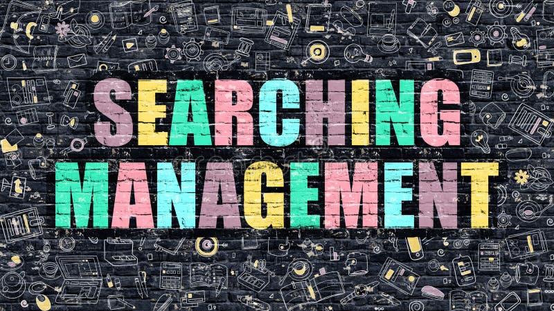 Suchen des Management-Konzeptes mit Gekritzel-Design-Ikonen vektor abbildung