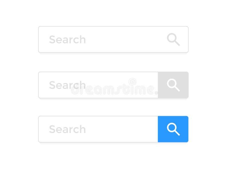 Suchen Sie Stangenwebseiteninternet-Browserelementvektor-Ikonenschablone lizenzfreie abbildung