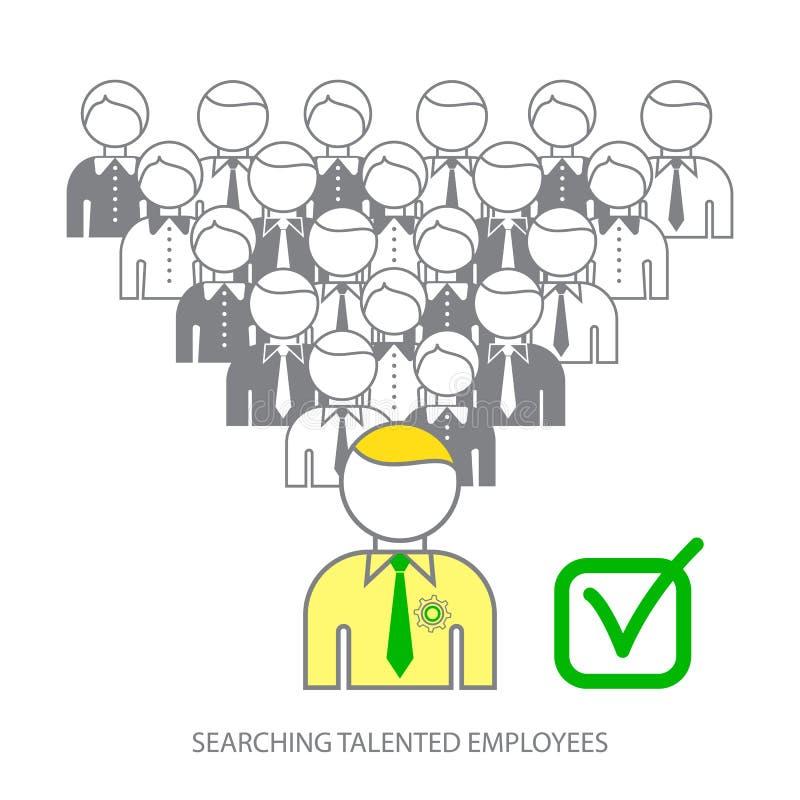 Suchen von Berufsangestellten Suchen von begabten Angestellten Wählen des perfekten Kandidaten für den Job lizenzfreie abbildung