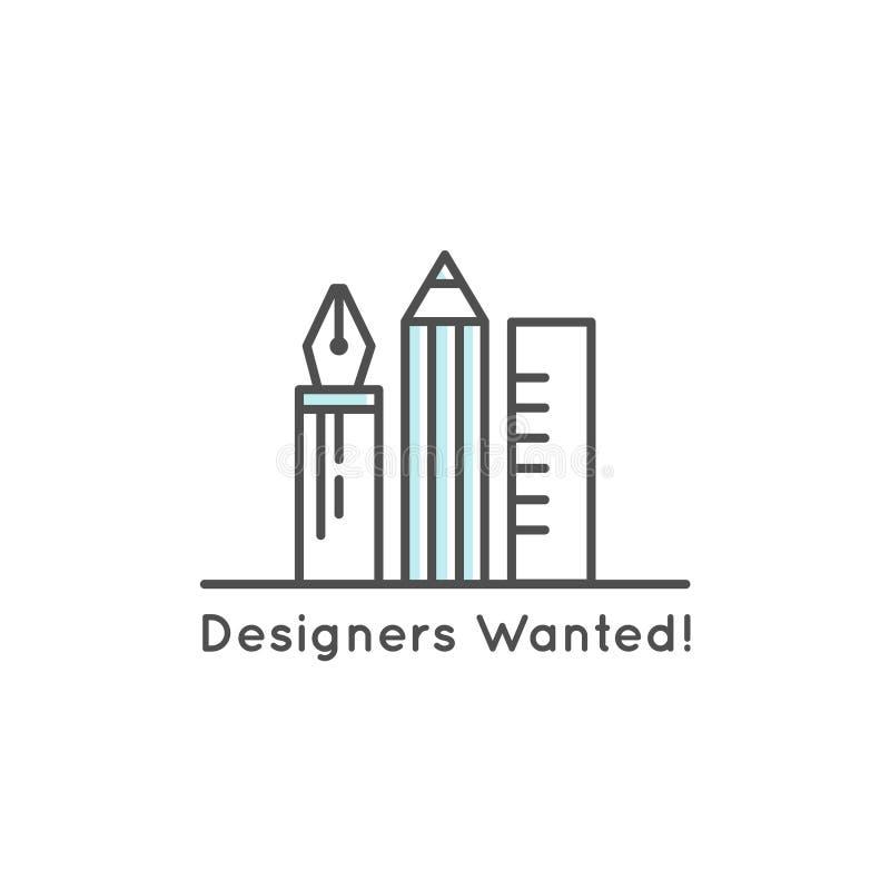 Suchen von Internierten und von jungen Designern! Vektor-Ikonen-Art-Illustration Logo Element lizenzfreie abbildung