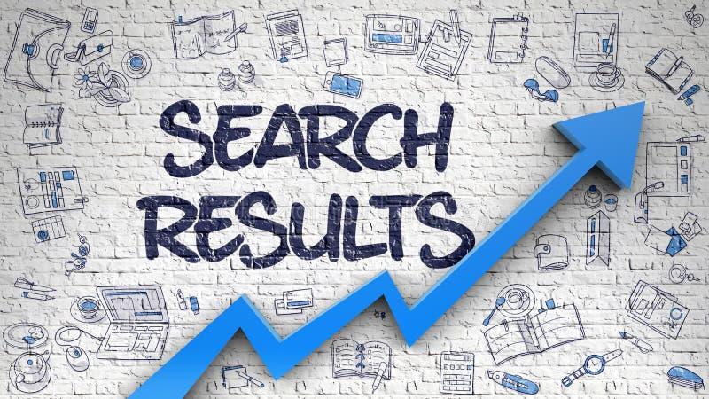 Suchergebnisse gezeichnet auf weiße Wand stock abbildung