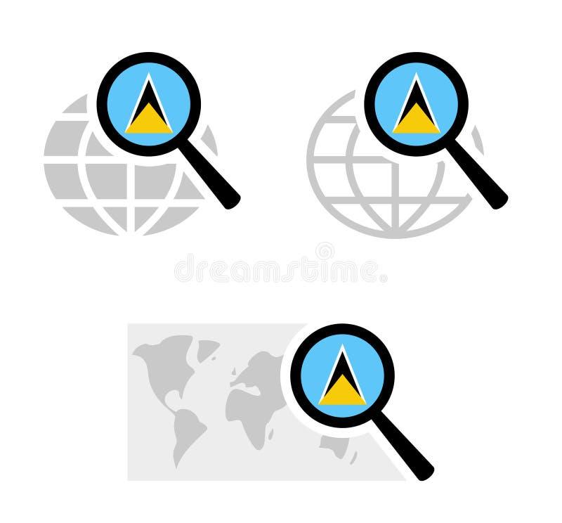 Suchikonen mit St. Lucia-Flagge vektor abbildung