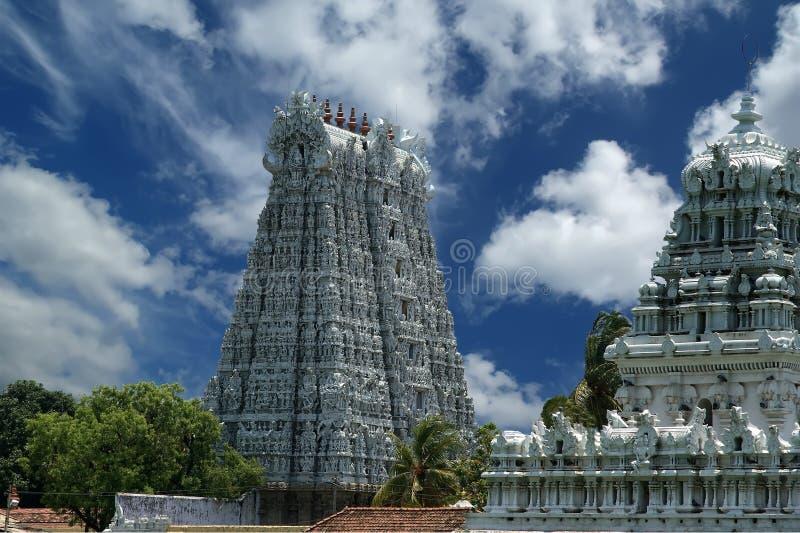Suchindram tempel som är hängiven till gudarna Shiva, Vishnu och Brahma Kanniyakumari södra Indien royaltyfria foton