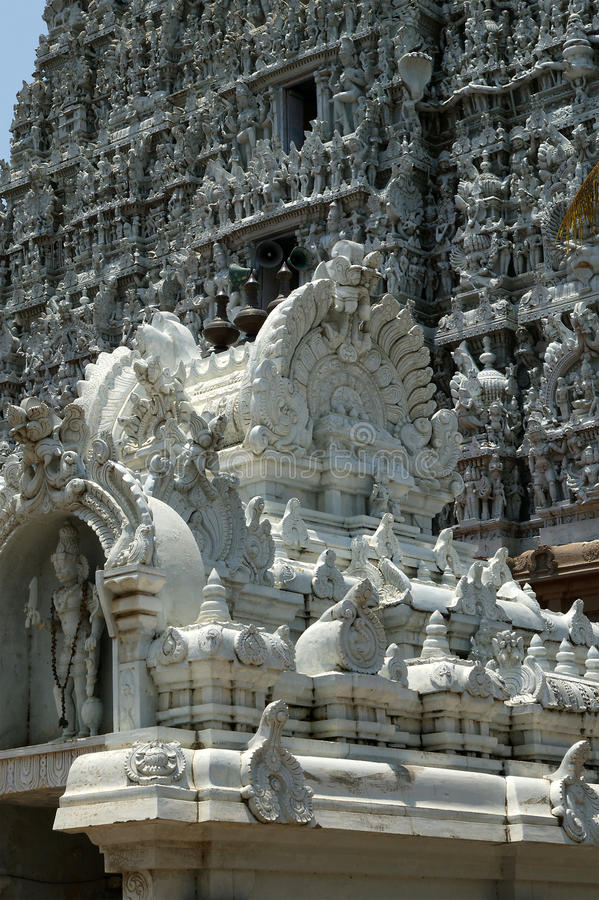 Suchindramtempel gewijd aan de goden Shiva, Vishnu en Brahma Kanniyakumari, Zuid-India stock foto