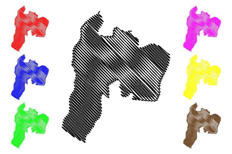 Suchitepequez-Abteilung Republik Guatemala, Abteilungen der Guatemala-Kartenvektorillustration, Gekritzelskizze Suchitepequez lizenzfreie abbildung