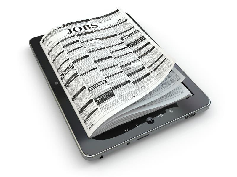 Suchjobs auf Zeitung in der Tablette. Begriffsbild. lizenzfreie abbildung