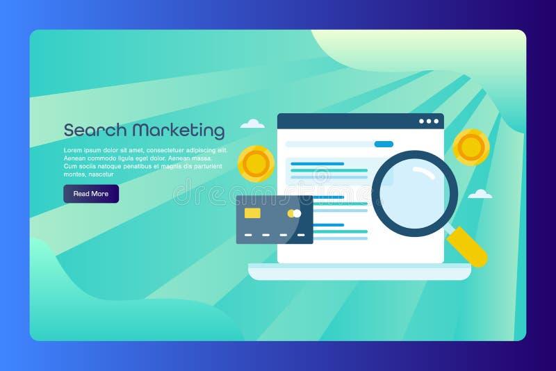 Suchmaschinemarketing, Bezahlung-pro-Klick- Werbung, zahlendes Suchauflistungskonzept, Netzfahnenschablone mit Text lizenzfreie abbildung