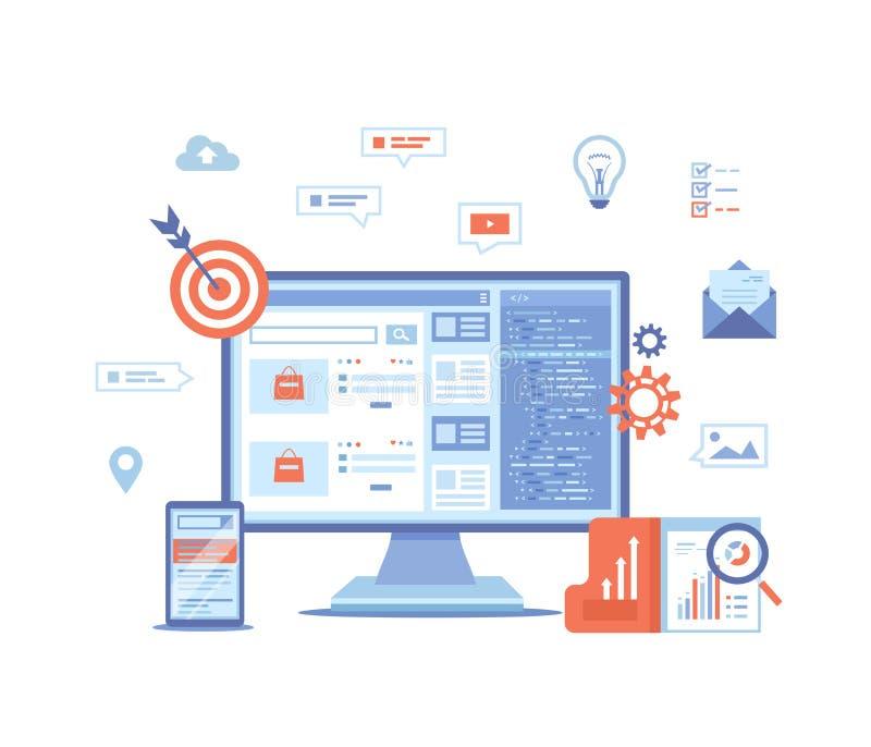 Suchmaschinen-Optimierung, SEO, Analytics, Analyse, visierend, Daten?berwachung, digitales Marketing an Monitor und Telefon mit S stock abbildung