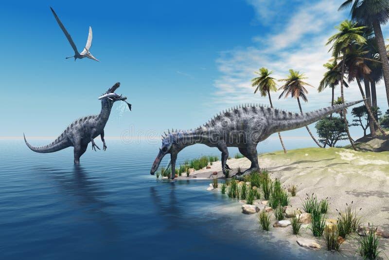 Suchomimus Dinosaurs royalty free illustration