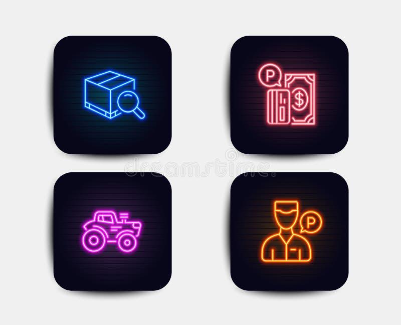 Suchpaket, Traktor- und Parkenzahlungsikonen Kammerdienerbedienstetzeichen Vektor stock abbildung