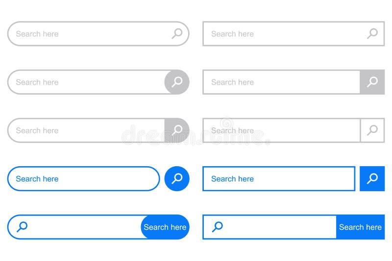 Suchstange für UI Satz Elemente für Designschnittstelle von Website Vektor vektor abbildung