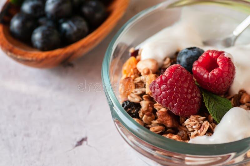 Suchy śniadanie granola i dzikie jagody obraz stock