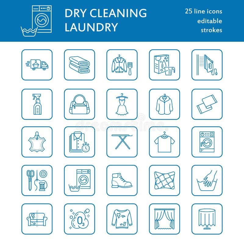 Suchy cleaning, pralni kreskowe ikony Launderette usługowy wyposażenie, pralka, odziewający buta i leaher naprawę royalty ilustracja