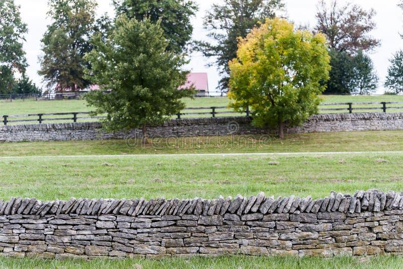 Suchy Kłaść skały ogrodzenie Wzdłuż Historycznego konia gospodarstwa rolnego - Paryski szczupak, Środkowy Kentucky fotografia stock