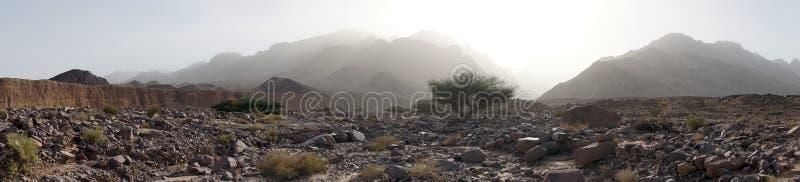 Suchy riverbed i góra zdjęcia stock