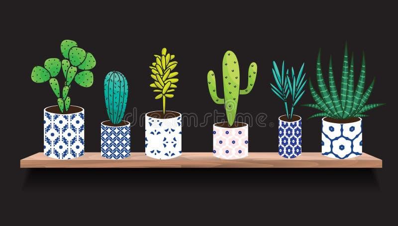 Suckulenter och kaktusväxter i krukor stock illustrationer